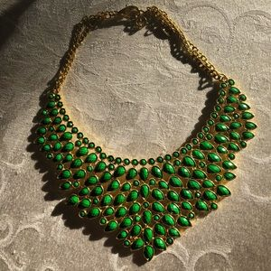 Amrita Singh Emerald Green Bib Statement Necklace